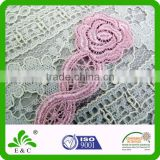 Designs beautiful flower shape embroidery patch/fabric flower applique