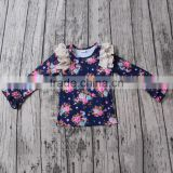 Lovely Girls Cotton many flowers designs with cotton lace and ruffles custom easeful t-shirt