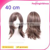 40cm Top Human Wigy Short Bob Curve at End Friendly Hair Replacement Party Wig with Wig Cap