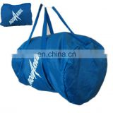 promotional foldable duffel bag can put into a self zipper pouch bag printed logo on the bag