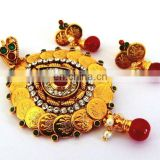 INDIAN GOLD PLATED PENDANT SET-SOUTH INDIAN TEMPLE JEWELLERY-IMITATION JEWELRY-BOLLYWOOD FASHION JEWELRY-GINNI JEWELRY