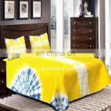 Yellow and Blue Shibori Bed cover with 2 pillow case