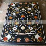 Pietra Dura Marble Inlay Dining Table Tops, Black Marble Inlay Table Top