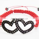 Woven shamballa red wire double heart alloy with diamond bracelet