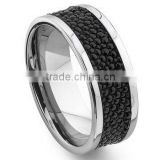 Tungsten Carbide Black Stingray Leather Band Ring, 2016 New Design Stingray Leather Ring