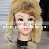 Natural Color genuine bomber fur hat real dog fur hat with ear flaps Keep warm