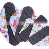 Reusable Menstrual Pad Cloth Charcoal Bamboo Sanitary Pads Wholesale China