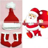 2016 New Arrival Saint Claus Set Crochet Hat and Boot Set Baby Photography Props