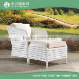 All weather white color rattan outdoor garden chair furniture cheap rattan chaise lounge sofa bed with ottoman