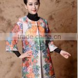 2014 Autumn & Winter High-end runway woolen plus size parrot printed coat women