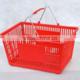 2016 Hot sale best quality double metallic Handles plastic Shopping basket China factory manufacturer