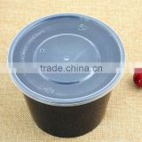 Disposable Round PP Plastic MicrowaveTakeaway Black Food Packing Container and Storage Salad Bowl with Lid