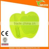 Apple Shape Cutting Boad Set Or Pcs Green Shopping Board With Knife Set Plastic Cutting Bard Good Helper For Kitchen