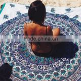 High quality Turkish design printed ocean round beach towel shawl with tassels for girls