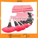 Free sample and instock pink 24pcs cosmetic makeup brush set with soft pu material pouch make up brush