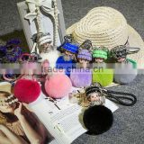 Crystal Monchichi Keychain real Rabbit's hair fur pom pom Monchhichi cartoon pompom Key chain ring women bag pendant