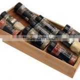 Desktop bamboo spice and sauce bottles organization OEM flavoring powders storage rack bamboo display stand