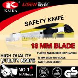 18 mm Snap Off Blade Screw-lock slider, Plastic with rubber grip handle Utility Knife