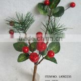 "high quality newest special artificial holly leaf and foam red berry pick 10"" branches pick for chrismas home decoration pick"