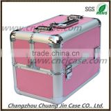 hot sale double open pink cute beauty aluminum cosmetic case, aluminum portable makeup case