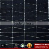 IMARK Honed Black Color Marble Stone Mosaic Tile Backsplash Tile For Wall Decoration Code IVM7-017