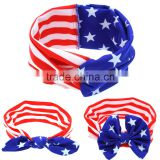 New Hot Baby USA Turban headband 4th of July American Flag Headband, Bbay Fashion National Flag hair accessories