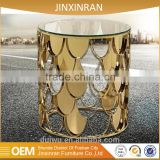 Latest design gold 201 stainless steel console table with mirror