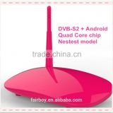 dual core android dvb-s2,Amlogic S805 with 4.4 KitKat ,Quad Core/Dual Chip Android TV BOX With S2 Receiver