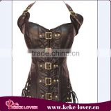 cheap hot sale sexy women stell boned waist trainer corset new design brown sexy leather corset wholesale plus sizee corsets
