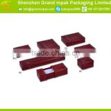 Stylish leather jewelry set storage gift packaging box with velvet inside for ring/earring/bracelet/necklace