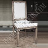 French Antique Distressed Linen Upholstered Dining Chairs