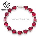 Rellecona (TM) ruby bracelet red heart shape cubic zirconia in gold plated wedding jewelry 7''
