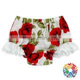 100% Organic Cotton Red Floral Bloomer Set For Diaper Girl Shorts