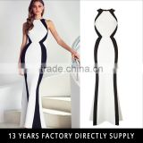 Black &white Fashion sexy lades' long floor touching party wear gown dress