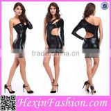 Newest Shiny Black Sexy Dress Club Wears Leather Dress