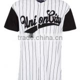 mens cheap white pinstripe union baseball t-shirt -bulk wholesale clothing made in China