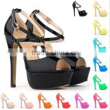2016 Fashion show high heels bright surface sandal shoe