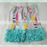 cartoon ruffle feather floral print design baby shorts and shirt sets clothing american flag fight shorts