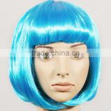 china supplier Anime Figure Neon Short Curly Blue Cosplay Wigs