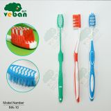 Adult toothbrush with gum massage and tongue cleaner