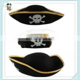 Adult Tricorn Black Pirate Captain Halloween Buccaneer Party Costume Hats HPC-0208