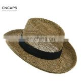Straw Golf Gambler Hat Navy Hat Band Outdoor Natural Hat