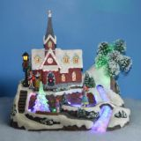 "Polyresin Christmas Decoration 11"" Fiber Optic church with rotating tree and skating childs, eight songs music"