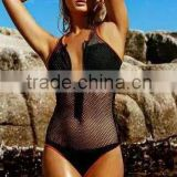 New Arrival 2016 Sey Black Tank Mesh Zipper Bandage Swimsuit Bathing Suit One Piece Women Swimsuit Ladies Swimwear