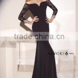 2015 Spring Elegant Black Sheath Smooth Sweetheart Floor Length Evening Dress