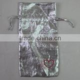 12*18cm fabric drawstring printed organdy gift bags in silver color/present pouches for packing party candy/festive gifts