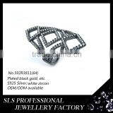 925 silver ring with inlaying diamond fake rings designs platting black gold rings jewelry