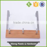 Clothes Hanger Hook 3 Hooks Overdoor Bamboo And Metal Material
