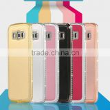 Colorful Bling Metal Bumper with Diamond Edged PU Leather Back Case Mobile Phone Cases for Samsung G7106 G5308