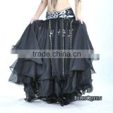 black chiffon bellydancing skirt,bellydance costumes,belly dance outfits,bellyqueen